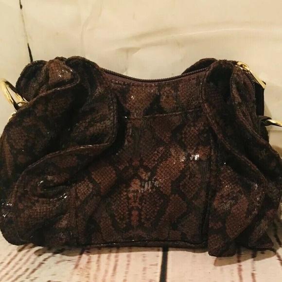 Relic Handbags - Relic Brown Faux Snakeskin Felt Shoulder Purse Han